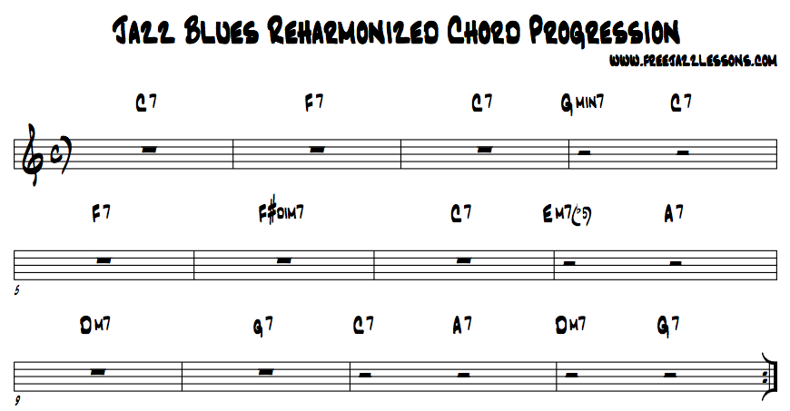 Jazz Blues Chord Progression. Free jazz lesson, video, jam track